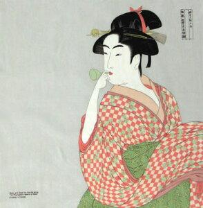日本製 海外向け おみやげ 日本風呂敷 浮世絵風呂敷ちりめん友禅 ビードロを吹く女