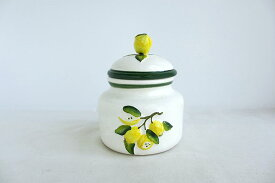 売れ筋!!イタリア製 陶器 レモン キャニスター  シュガーポット 蓋つき容器