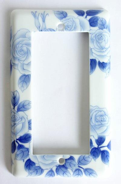 【即納可!!】新入荷しました♪有田焼 陶器 スイッチプレート ワイド21染付薔薇絵 青色 ブルー