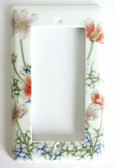 【即納可!!】再入荷しました♪有田焼 陶器 スイッチプレート ワイド21コスモス絵 フラワー 花柄