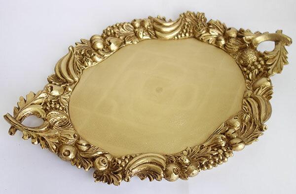 【即納可!!】新入荷しました♪イタリア製 アンティーク調 手付きトレー ゴールド