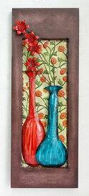 【即納可!!】再入荷しました♪アイアン 壁掛け ウォールパネルレッド&ブルー フラワー 花柄 ウォールデコレーション