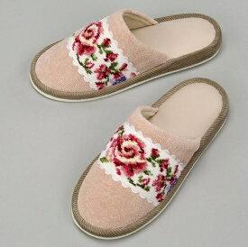 【即納可!!】新入荷しました♪日本製  FEILER フェイラー シェニール織り スリッパベージュ 部屋履き アデリーナ ヒール無し薔薇 バラ