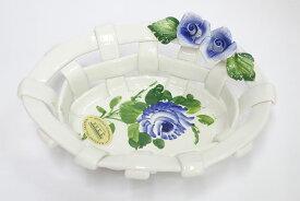 【即納可!!】再入荷しました♪イタリア製 陶器 陶花付き メッシュバスケット ブルーローズ Sサイズ