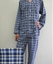 メンズチェックパジャマ ネイビー