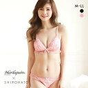 (ハラークイン) Harlequin SHIROHATOコラボ フロートフラワー刺繍 ノンワイヤー 三角ブラセット M L LL レディース