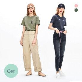 (シーイーアンド)Ce& BEAT WAVE Tシャツ 半袖 2枚セット レディース [ 春夏 春用 夏用 綿100% コットン100% 敏感肌用 かわいい 可愛い ]