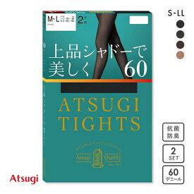 【メール便(23)】 (アツギ)ATSUGI (アツギタイツ)ATSUGI TIGHTS タイツ 60デニール 2足組 消臭 発熱 レディース 黒