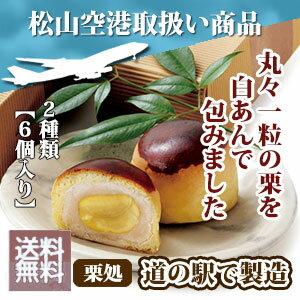 送料無料 道の駅の手作り栗菓子「栗まんじゅう2種類の6個セット」【松山空港人気商品】