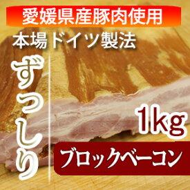 【愛媛県産豚肉使用】冷凍肉は使用しません。ドイツ人マイスター直伝の味!ブロックベーコン1kg 10P30May15