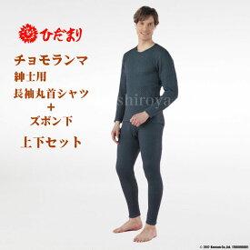 ひだまり 健康肌着 チョモランマ 紳士用 長袖丸首シャツ + ズボン下 上下セット M/L/LL