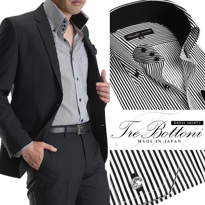 【日本製・綿100%】トレボットーニボタンダウン・メンズドレスシャツ/ブラックストライプ(オセロ切替・カラーボタン付属)【Le orme】(替えボタン ワイシャツ 長袖 ビジネス パーティー 2次会 モード Yシャツ)