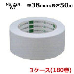 【法人様宛限定】オカモト 環境思い No.224WC ホワイト 幅38mm×長さ50m×厚さ0.14mm 3ケース(60巻入×3ケース)(HA)