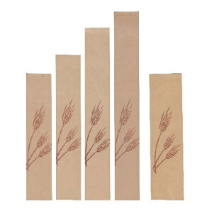 フランスパン紙袋 麦の穂(茶) 中 100(70)×545+18mm 50枚(Y001076)