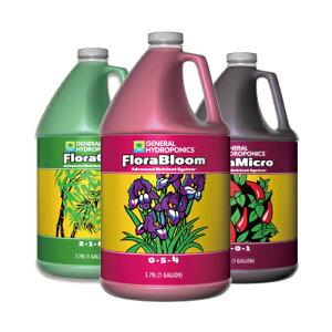 水耕栽培の液体肥料 GH Flora フローラ 3.78L お得な3本セット Hydroponic Nutrients