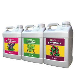 水耕栽培の液体肥料 GH Flora フローラ 9.46L 3本セット  Hydroponic Nutrients