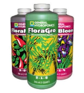 水耕栽培の液体肥料 GH Flora フローラ 946ml お得な3本セット Hydroponic Nutrients