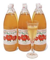 酸化防止剤などの添加物は一切使用していないストレート果汁100%丸かじりできる津軽岩木山りんごの無添加、無加糖100%リンゴジュース 1ℓ入り 6本 05P04Jul15