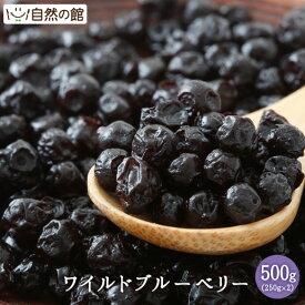 ワイルドブルーベリー 500g(250g×2) 送料無料 ドライフルーツ 保存に便利なチャック付き [ ポリフェノール豊富 アメリカ産 フルーツ 菓子材料 お試しサイズ 自然の館 ] 保存食 非常食 訳あり