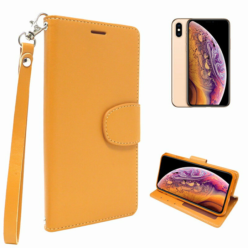iPhone Xs iphone X 専用 手帳型 シンプル ケース カバー ストラップ付 クリアポケット カード収納あり アイフォンX 手帳ケース キャラメルブラウン色