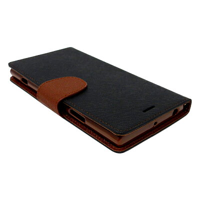 【予約】SONYXperiaXZ1専用手帳型ケースカバー2WAYワンタッチ着脱ストラップ付カード収納あり(SONYXperiaXZ1,黒×茶)