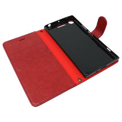 【予約】XperiaXZ1専用手帳型赤色PUレザーレッドクイーンケースカバービンテージストラップ付カード収納ありXZ1ケースエクスペリアXZ1スマホケース(SONYXperiaXZ1,REDQUEEN)