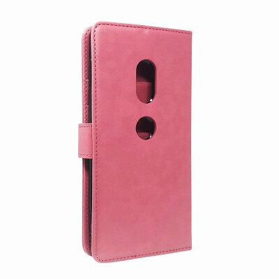 SONYXperiaXZ2SO-03KSOV37702SO/XperiaXZ1SO-01KSOV36701SO専用手帳型ピンク色PUレザーサクラドロップケースカバービンテージストラップ付カード収納XZ1ケースSAKURADROP