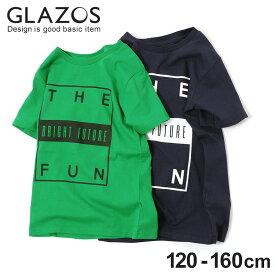【GLAZOS】FUNボックスロゴ半袖Tシャツ 子供服 男の子 カジュアル アメカジ キッズ ジュニア クルーネック 120cm 130cm 140cm 150cm 160cm グラソス 春夏