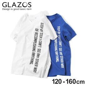 【GLAZOS】縦ロゴプリントVネック半袖Tシャツ 子供服 男の子 カジュアル アメカジ キッズ ジュニア 120cm 130cm 140cm 150cm 160cm グラソス 春夏