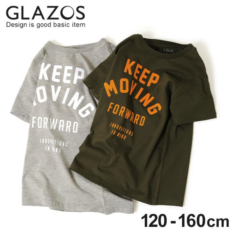 【GLAZOS】フロッキーロゴ半袖Tシャツ 子供服 男の子 カジュアル アメカジ キッズ ジュニア 120cm 130cm 140cm 150cm 160cm グラソス 春夏