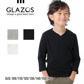 【GLAZOS】Vネック7分袖Tシャツ 110cm 120cm 130cm 140cm 150cm 160cm 子供服 男の子 キッズ ジュニア カジュアル アメカジ グラソス 無地T 半端袖 シンプル Vネック