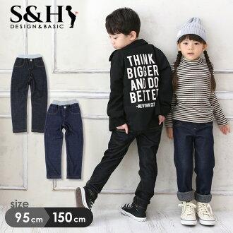 牛仔風格和背部造成的毛皮褲子 2 色兒童服裝男孩女孩孩子初中背刷底長褲子