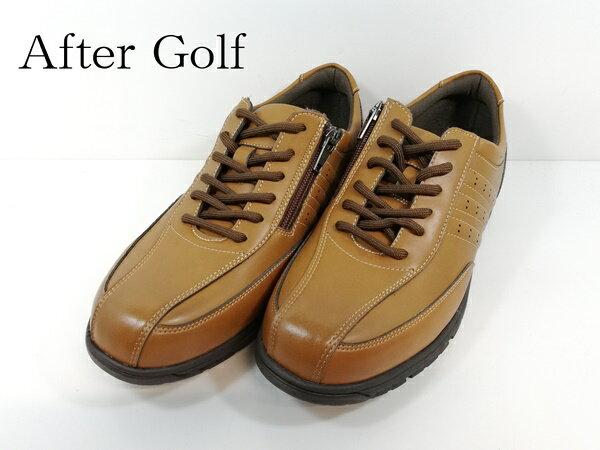アフターゴルフ カジュアルシューズ 幅広 4E After Golf 2907-300 camel キャメル ミクニ mikuni 【メンズ】