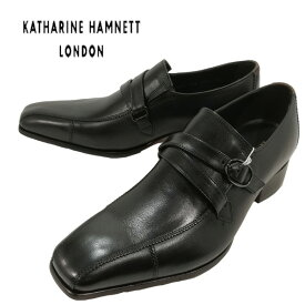 キャサリンハムネット 靴 KATHARINE HAMNETT KH31501ブラック クロスベルトストラップ ドレスビジネスシューズ 本革 メンズ スワロートゥ サイドストラップ スリッポン レザーシューズ ビジカジ カジュアル 【メンズ】
