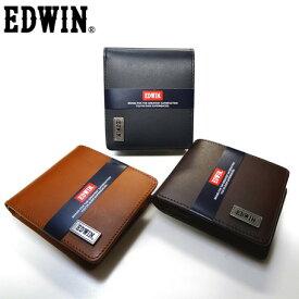 二つ折り財布 メンズ【EDWIN】再生皮革リサイクルレザー二つ折りウォレット