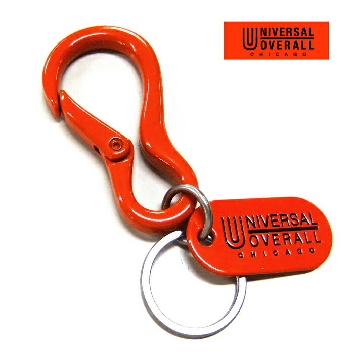 キーホルダー レディース【universal overall】ユニバーサルオーバーオールカラビナキーホルダー(オレンジカラー)