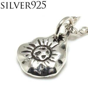シルバーネックレス サン(太陽)×コンチョ風モチーフ シルバーペンダント シルバー925
