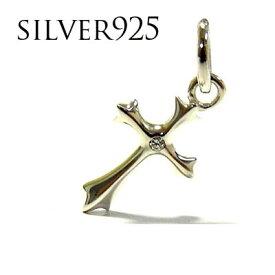 シルバーネックレス ペンダントトップのみ シルバーアクセサリー キュービックジルコニアシルバー925 メンズ ペンダント クロス 十字架