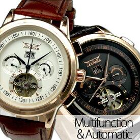 メンズ腕時計 送料無料 自動巻きバックスケルトン腕時計【カレンダー機能付き】