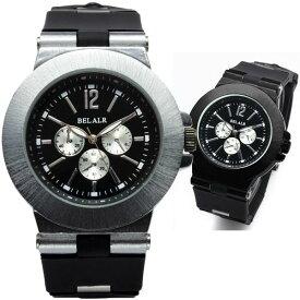 腕時計 メンズ 可動式ラバーベルト&ビッグフェイス腕時計【保証書付】