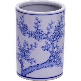 墨運堂 陶器 筆筒梅木 中 (26601)