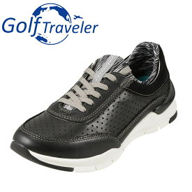 ゴルフトラベラー Golf Traveler スニーカー GFL4423 レディース靴 靴 シューズ 2E相当 ローカットスニーカー 本革 軽量 レースアップ 歩きやすい クッション性 大きいサイズ対応 25.0cm ブラック