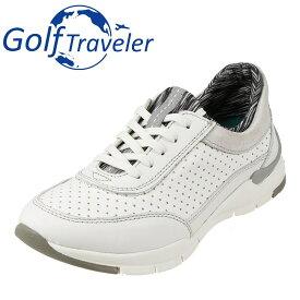 ゴルフトラベラー Golf Traveler スニーカー GFL4423 レディース靴 靴 シューズ 2E相当 ローカットスニーカー 本革 軽量 レースアップ 歩きやすい クッション性 大きいサイズ対応 25.0cm ホワイト