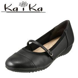 カイカ kaika パンプス KA3272 レディース靴 靴 シューズ ストラップパンプス ラウンドトゥパンプス ローヒール 歩きやすい 大きいサイズ対応 25.0cm ブラック