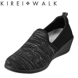 キレイ・ウォーク KIREI・WALK カジュアルシューズ BFK-002 レディース靴 靴 シューズ スリッポン ウェッジソール 軽量 軽い アスレジャー 美脚 歩きやすい おしゃれ 大きいサイズ対応 25.0cm ブラック