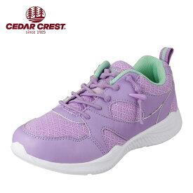 セダークレスト CEDAR CREST CC-3074 キッズ・ジュニア ランニングシューズ キャタピースマート 靴ひも 結ばない 子ども 女の子 ローカットスニーカー 体育 運動 通学 スポーツ パープル