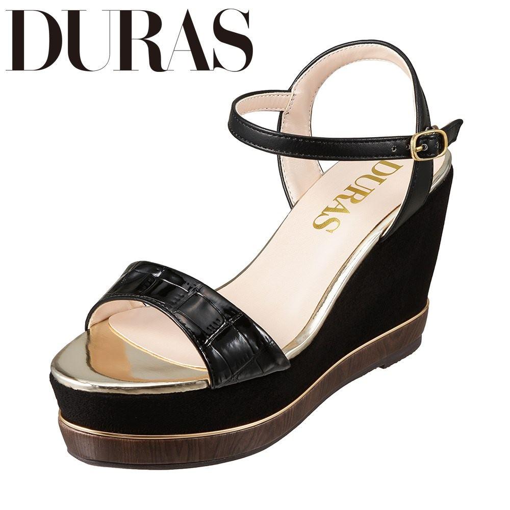デュラス DURAS DR9100 レディース靴 2E相当 カジュアルサンダル ウェッジソール クロコ柄 小さいサイズ対応 大きいサイズ対応 ブラック