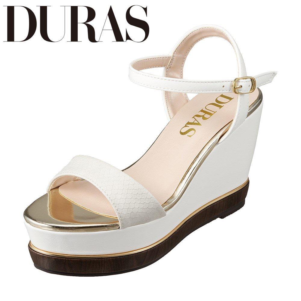 デュラス DURAS DR9100 レディース靴 2E相当 カジュアルサンダル ウェッジソール クロコ柄 小さいサイズ対応 大きいサイズ対応 ホワイト