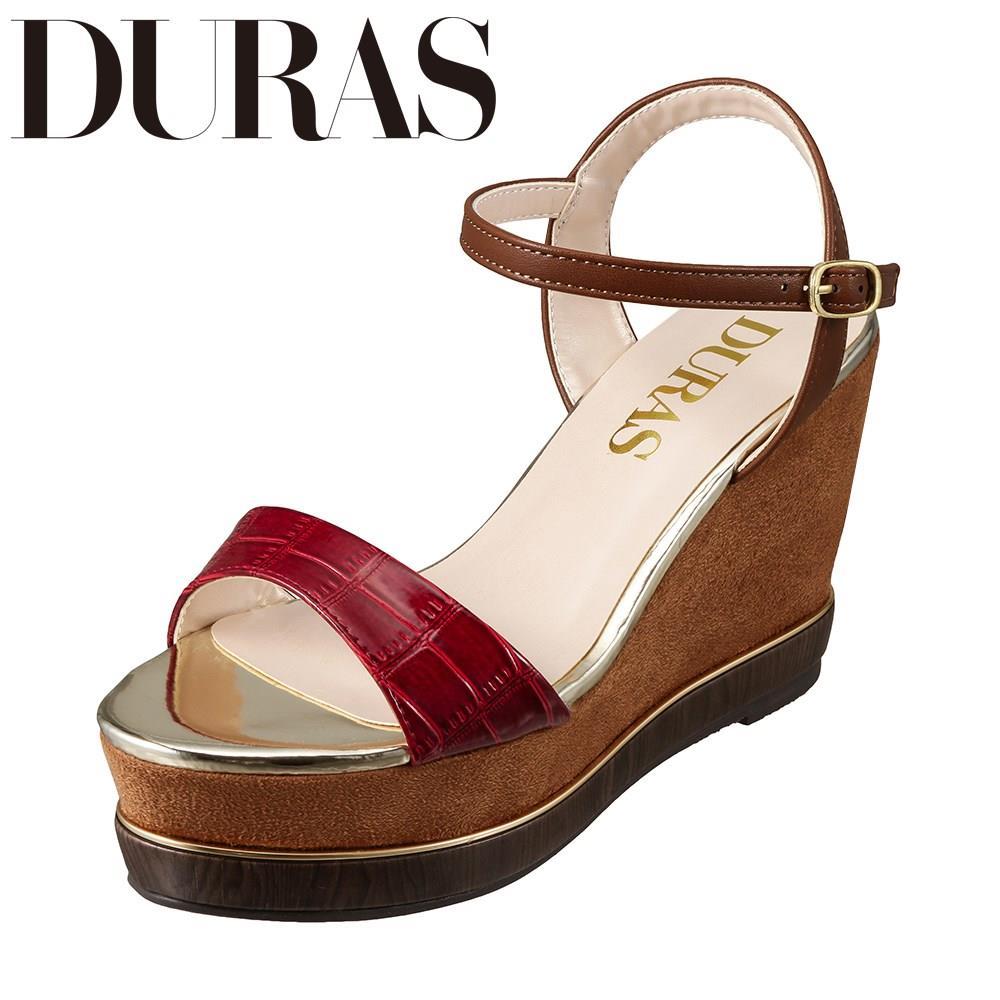 デュラス DURAS DR9100 レディース靴 2E相当 カジュアルサンダル ウェッジソール クロコ柄 小さいサイズ対応 大きいサイズ対応 ブラウン