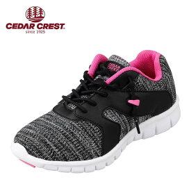 セダークレスト CEDAR CREST CC-3086 キッズ靴 3E相当 スニーカー キャタピースマート 結ぶ必要 ない 靴ひも フィット ブラック